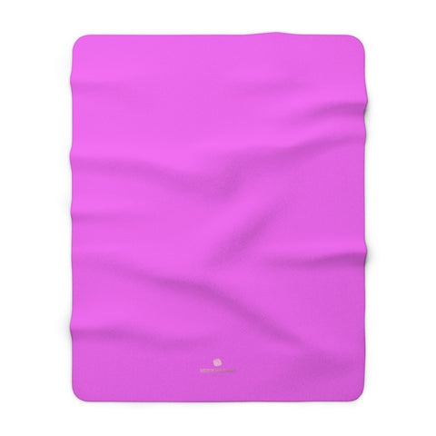 "Hot Bright Pink Solid Color Print Designer Cozy Sherpa Fleece Blanket-Made in USA-Blanket-60"" x 80""-Heidi Kimura Art LLC"
