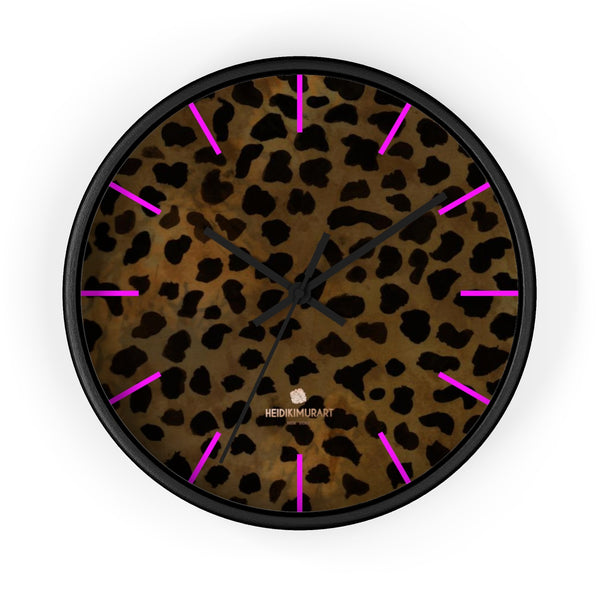 Cheetah Animal Print Designer 10 in. Dia. Indoor Wall Clock- Made in USA-Wall Clock-10 in-Black-Black-Heidi Kimura Art LLC