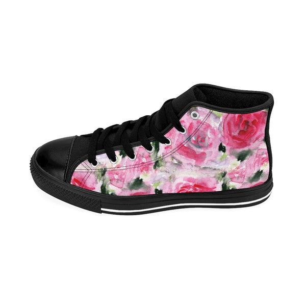 Pink Abstract Rose Floral Print Pink Designer Women's High Top Sneakers (US Size: 6-12)-Women's High Top Sneakers-Heidi Kimura Art LLCPink Rose Women's Sneakers, Feminine Sporty Modern Pink Abstract Rose Floral Print Pink Designer Women's High Top Sneakers Tennis Running Shoes (US Size: 6-12)
