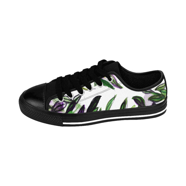 Fresh Green Tropical Leaves Print Designer Low Top Women's Sneakers (US Size 6-12)-Women's Low Top Sneakers-Heidi Kimura Art LLC