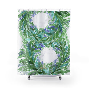 "White Purple French Lavender Floral Print Designer Polyester Shower Curtains-Made in USA-Shower Curtain-71"" x 74""-Heidi Kimura Art LLC White Lavender Shower Curtain, White Purple French Lavender Floral Print Designer Polyester Shower Curtains- Printed in USA, Polyester Large 100% Polyester 71x74 inches Shower Curtains"
