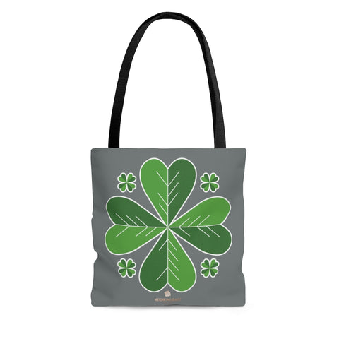 Gray And Green Irish Green Clover Leaf St. Patrick's Day Print Tote Bag- Made in USA-Tote Bag-Large-Heidi Kimura Art LLC