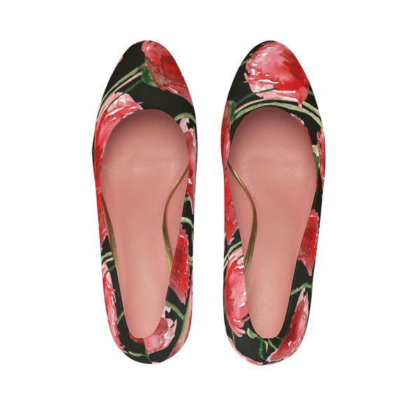 "Bright Red Poppy Flower Floral Print Designer Women's 3"" High Heels (US Size 5-11)-3 inch Heels-Heidi Kimura Art LLC"