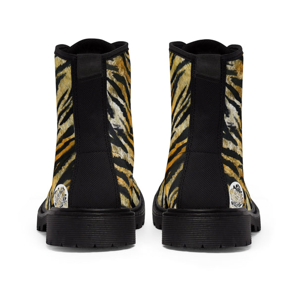 Tiger Striped Animal Skin Pattern Designer Women's Winter Lace-up Toe Cap Boots-Women's Boots-Heidi Kimura Art LLC