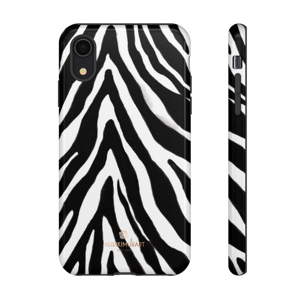 Zebra Stripe Phone Case, Animal Print Tough Designer Phone Case -Made in USA-Phone Case-Printify-iPhone XR-Glossy-Heidi Kimura Art LLC
