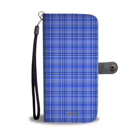 Blue Personalized Wallet Phone Case, Custom Name Plaid Tartan Print iPhone Samsung Case