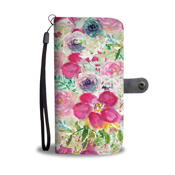 Floral Print Rose Flower Pink Custom Name Best Mom iPhone Samsung Wallet Case - Heidi Kimura Art LLC