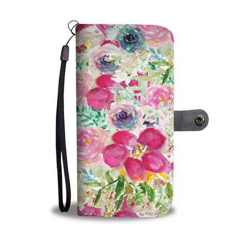 Personalized Floral Wallet Phone Case, Floral Print Rose Flower Pink Custom Name Best Mom iPhone Samsung Wallet Case