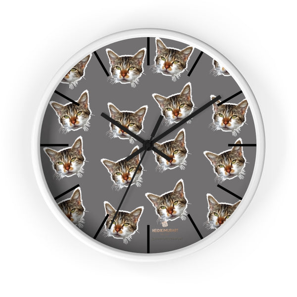 "Gray Cat Print Wall Clock, Cute Calico Cat Unique 10"" Dia. Indoor Wall Clocks- Made in USA-Wall Clock-10 in-White-Black-Heidi Kimura Art LLC"