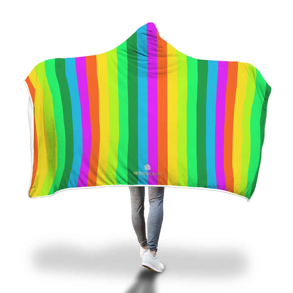 "Rainbow Stripe Print Designer Soft Sherpa Hooded Blanket for Adults/ Youth-Hooded Blanket-Adult 80""x55""-Heidi Kimura Art LLC"