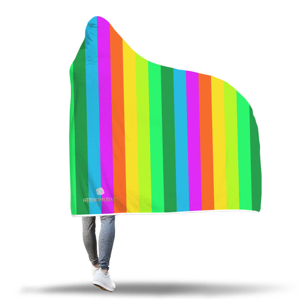 Rainbow Stripe Print Designer Soft Sherpa Hooded Blanket for Adults/ Youth-Hooded Blanket-Heidi Kimura Art LLC