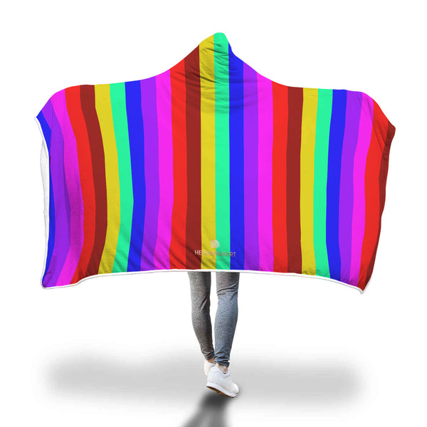 Chie Rainbow Stripe Print Designer Soft Sherpa Hooded Blanket for Adults/ Youth
