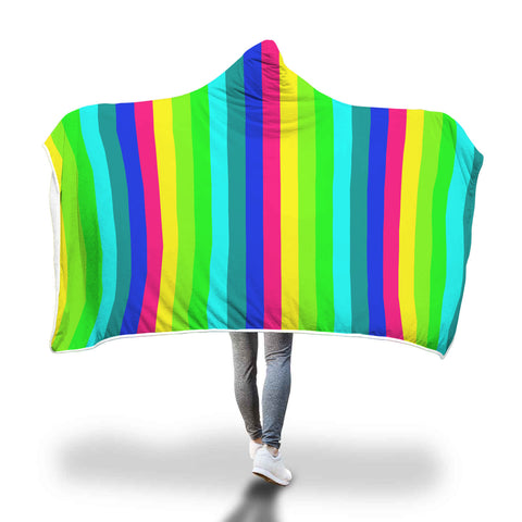 "Happy Rainbow Stripe Print Designer Soft Sherpa Hooded Blanket for Adults/ Youth-Hooded Blanket-Adult 80""x55""-Heidi Kimura Art LLC"