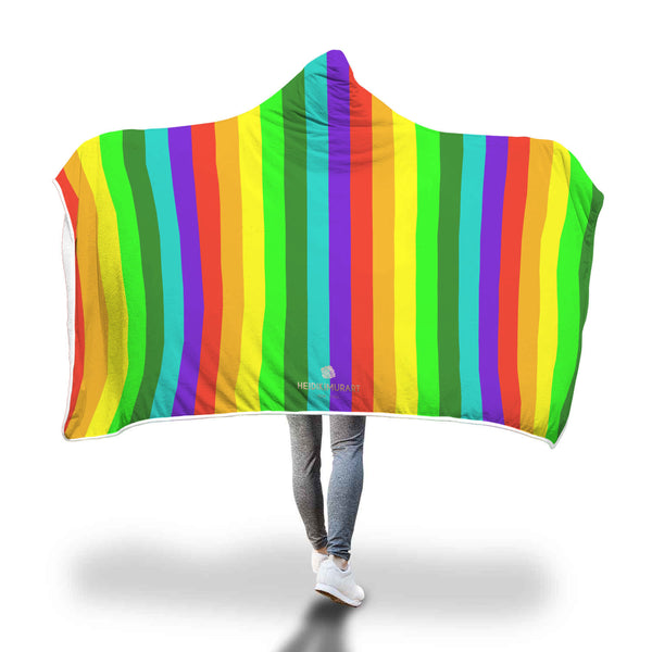 Higo Colorful & Bright Colorful Rainbow Stripe Print Gay Pride/ LGBT-Friendly Designer Soft Sherpa Hooded Blanket for Adults/ Youth Rainbow Stripe Sherpa Polyester Hooded Blanket For Adults & Youth