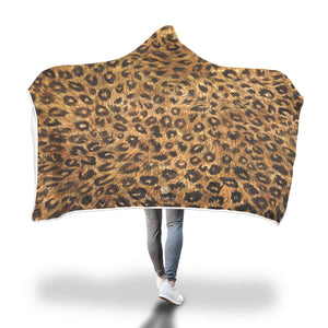 "Cute Brown Leopard Animal Print 80""x55"", 60""x40"" Hooded Blanket For Adults & Youths-Hooded Blanket-Adult 80""x55""-Heidi Kimura Art LLC"