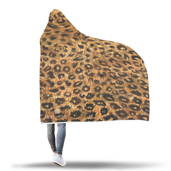 "Cute Brown Leopard Animal Print 80""x55"", 60""x40"" Hooded Blanket For Adults & Youths-Hooded Blanket-Heidi Kimura Art LLC"