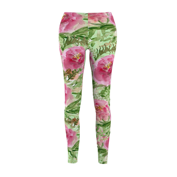 Mint Green Floral Wreath Women's Designer Casual Fashion Leggings - Made in USA-Casual Leggings-M-Heidi Kimura Art LLC