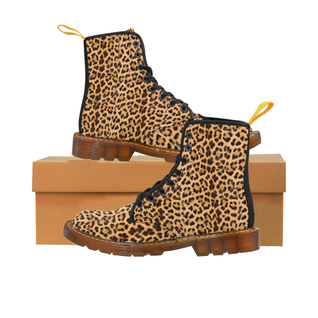 Brown Leopard Men's Canvas Boots, Animal Print Designer Winter Laced-up Boots For Men-Shoes-Printify-Brown-US 9-Heidi Kimura Art LLC Brown Leopard Men's Canvas Boots, Fashionable Brown Leopard Chic Animal Print Anti Heat + Moisture Designer Comfortable Stylish Men's Winter Hiking Boots Shoes For Men (US Size: 7-10.5)