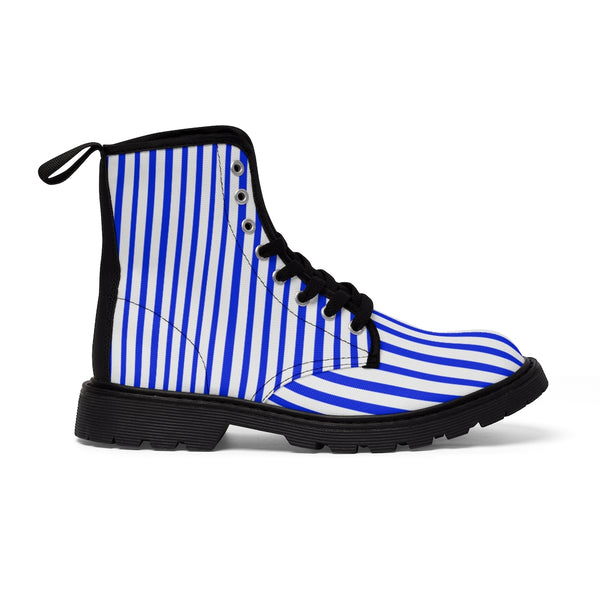 Blue Striped Print Men's Boots, Blue White Stripes Best Hiking Winter Boots Laced Up Shoes For Men-Shoes-Printify-Black-US 7-Heidi Kimura Art LLCBlue Striped Print Men's Boots, Blue White Stripes Men's Canvas Hiking Winter Boots, Fashionable Modern Minimalist Best Anti Heat + Moisture Designer Comfortable Stylish Men's Winter Hiking Boots Shoes For Men (US Size: 7-10.5)