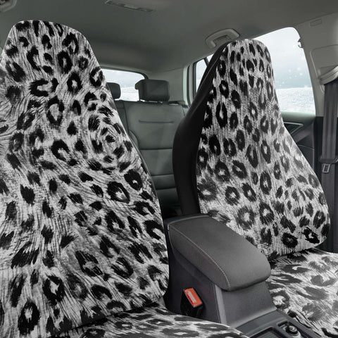 Leopard Car Seat Cover, Grey/ Gray Leopard Animal Print Designer Essential Premium Quality Best Machine Washable Microfiber Luxury Car Seat Cover - 2 Pack For Your Car Seat Protection, Cart Seat Protectors, Car Seat Accessories, Pair of 2 Front Seat Covers, Custom Seat Covers
