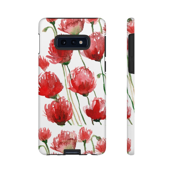 Red Tulips Floral Tough Cases, Roses Flower Print Best Designer Phone Case-Made in USA-Phone Case-Printify-Samsung Galaxy S10E-Matte-Heidi Kimura Art LLC