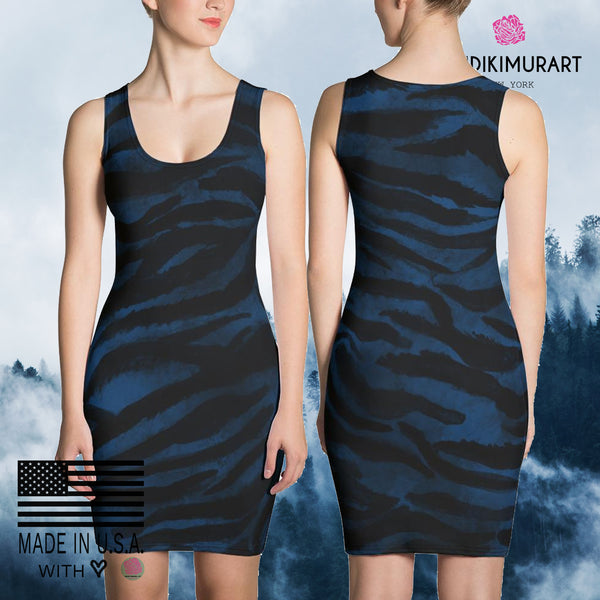 Rika 1-pc Royal Navy Blue Black Women's Tiger Striped Animal Print Dress-Made in USA,Blue Tiger Stripe Tigers Print Dress,Navy Blue Dress