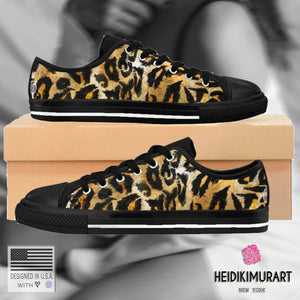 Brown Black Snow Leopard Cheetah Animal Skin Pattern Low Top Designer Men's Sneakers(US Size: 7-14)Mens Leopard Shoes,Leopard Men's Sneakers