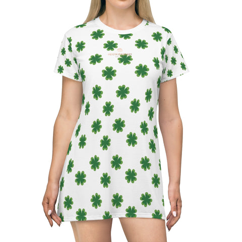 Green Clover Print St. Patrick's Day Women's T-Shirt Premium Long Dress- Made in USA-T-Shirt Dress-Heidi Kimura Art LLC