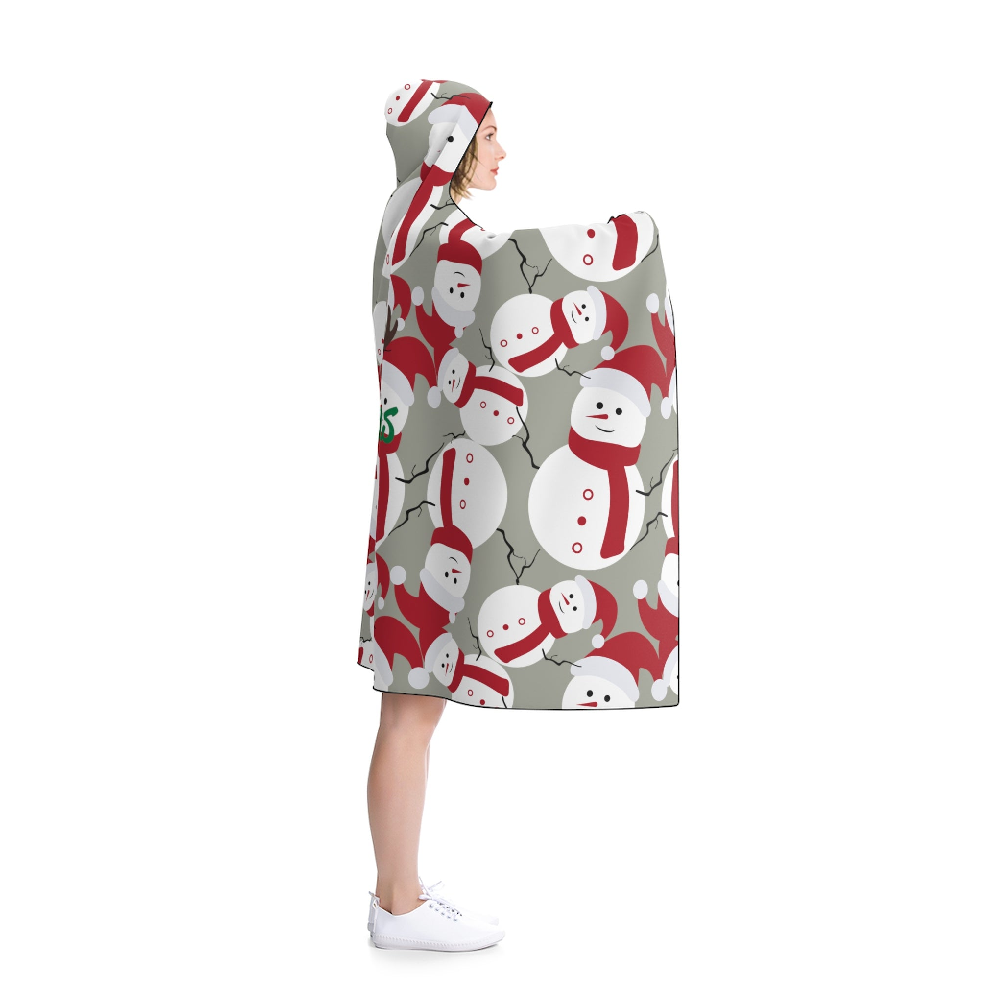 Gray Lightweight Christmas Red Snowman Designer Holiday Party Hooded Blanket-Hooded Blanket-80x56-Heidi Kimura Art LLC