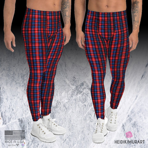 Red Plaid Print Men's Leggings, Scottish Tartan Print Fashion Men's Running Tights, Stylish Colorful Sexy Meggings Men's Workout Gym Tights Leggings, Men's Compression Tights Pants - Made in USA/ EU/ MX (US Size: XS-3XL)