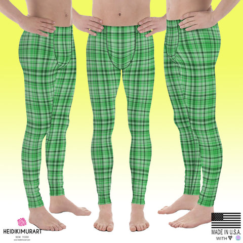 Light Green Tartan Plaid Men's Running Leggings & Run Tights Meggings Activewear-Men's Leggings-Heidi Kimura Art LLC Green Plaid Meggings, Light Green Tartan Plaid Men's Running Leggings & Run Tights Meggings Activewear- Made in USA/ Europe (US Size: XS-3XL)