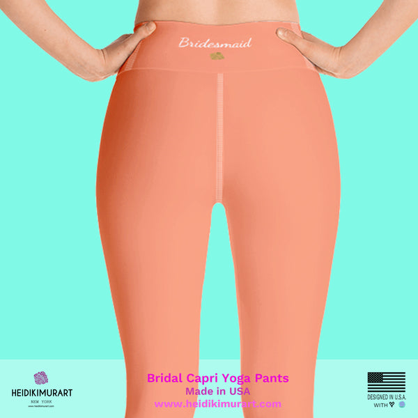 Peach Pink Bridesmaid Text Designer Women's Yoga Capri Leggings- Made in USA (US Size: XS-XL), Bridesmaid Gift, Made in USA