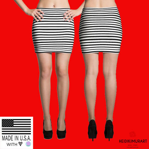 Modern Designer Black White Horizontal Stripe Women's Mini Skirt- Made in USA/EU-Mini Skirt-Heidi Kimura Art LLC
