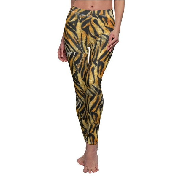 Orange Bengal Tiger Striped Animal Print Women's Casual Leggings - Made in USA-Casual Leggings-Heidi Kimura Art LLC