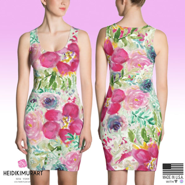 Pink Rose Floral Print Dress, Shocking Pink Rose Floral Print Long Sleeveless Premium Quality Designer Women's Dress - Made in USA/EU (US Size: XS-XL), Floral Dress, Pretty Floral Dresses, Boohoo Floral Dress, Floral Dresses For Weddings