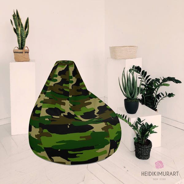 "Green Camo Bean Bag Chair, Green Camo Camouflage Military Army Print Water Resistant Polyester Bean Sofa Bag W: 58""x H: 41"" Chair With Filling Or Bean Bag Cover Without Filling- Made in Europe"