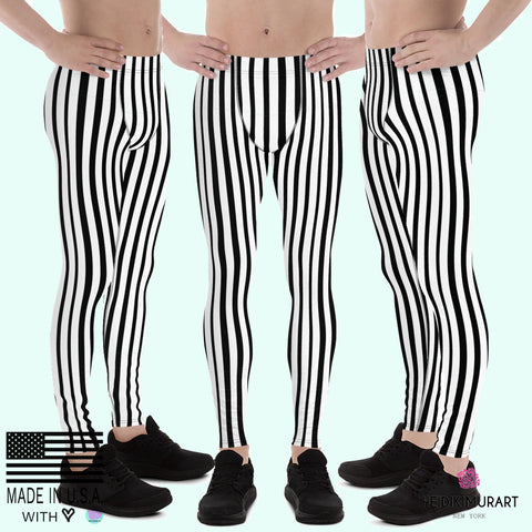 Black White Vertically Striped Meggings, Stripe Print Men's Circus Leggings - Made in USA/EU-Men's Leggings-XS-Heidi Kimura Art LLC
