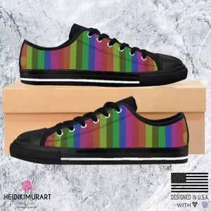 Gay Pride Rainbow Stripe Print Men's Low Top Sneakers Running Shoes(US Size:6-14)Rainbow Sneakers,Rainbow Shoes,Pride Sneakers,Rainbow FlagGay Pride Rainbow Stripe Print Men's Low Top Sneakers Running Shoes (US Size: 6-14)