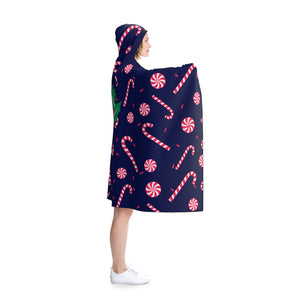 Navy Blue Lightweight Christmas Red Sugar Cane Holiday Party Hooded Blanket-Hooded Blanket-80x56-Heidi Kimura Art LLC