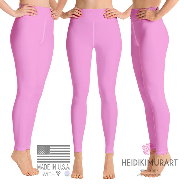 Ballet Light Pink Women's Leggings, Women's Pink Solid Color Active Wear Fitted Leggings Sports Long Yoga & Barre Pants - Made in USA/EU (XS-6XL)