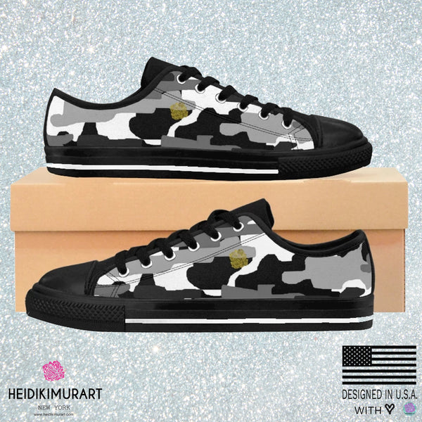 Gray Camo Men's Low Tops, Camouflage Military Print Designer Men's Low Top Sneakers-Men's Low Top Sneakers-Heidi Kimura Art LLC
