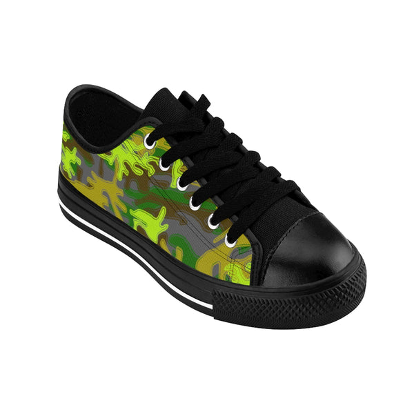 Gray Green Camouflage Military Print Premium Men's Low Top Canvas Sneakers Shoes-Men's Low Top Sneakers-Heidi Kimura Art LLC Gray Green Camouflage Military Army Print Designer Men's Running Low Top Sneakers Shoes, Men's Designer Camo Print Tennis Shoes (US Size 7-14)