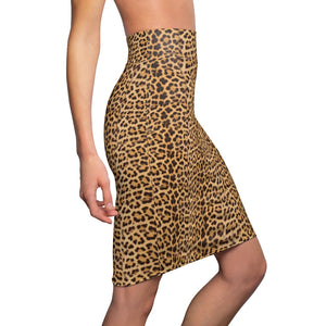 Brown Leopard Women's Pencil Skirt, Animal Print Ladies Stretchy Skirt- Made in USA-All Over Prints-Printify-XL-4 oz.-Heidi Kimura Art LLC