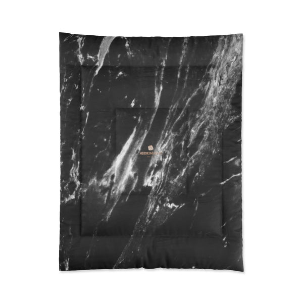 Cool Black White Marble Print Designer Comforter For King/Queen/Full/Twin-Made in USA-Comforter-68x88 (Twin Size)-Heidi Kimura Art LLC