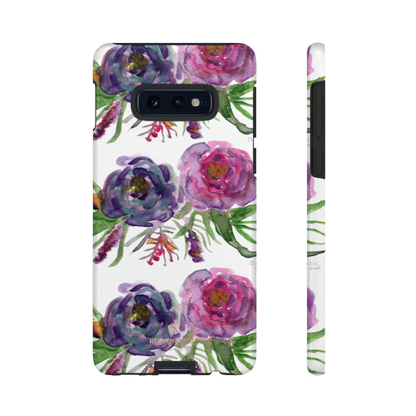 Pink Floral Print Phone Case, Roses Tough Designer Phone Case -Made in USA-Phone Case-Printify-Samsung Galaxy S10E-Glossy-Heidi Kimura Art LLC