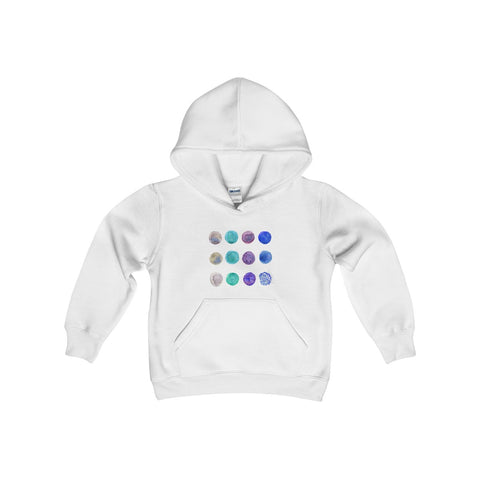 White Cute Polka Dots Kids Heavy Blend Hooded Sweatshirt - Made in USA-Kids clothes-White-L-Heidi Kimura Art LLC