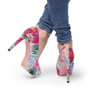 "Red Hibiscus Flower Rose Mixed Floral Print Women's 4"" Platform Heels (Size 5-11)-4 inch Heels-US 7-Heidi Kimura Art LLC"