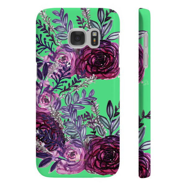 Lime Green Slim iPhone/ Samsung Galaxy Floral Purple Rose Phone Case, Made in UK-Phone Case-Samsung Galaxy S7 Slim-Matte-Heidi Kimura Art LLC