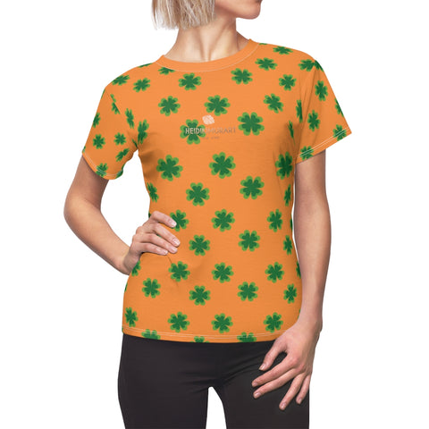 Orange Green Clover Print St. Patrick's Day Women's Premium Crewneck Tee- Made in USA-Women's T-Shirt-L-White Seams-4 oz.-Heidi Kimura Art LLC