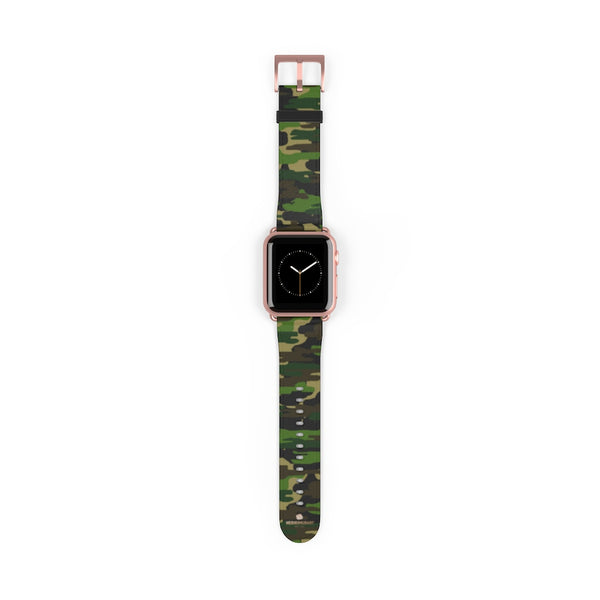 Dark Green Classic Camo Print 38mm/42mm Watch Band For Apple Watch- Made in USA-Watch Band-Heidi Kimura Art LLC